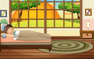 Junge schläft im Schlafzimmer vektor
