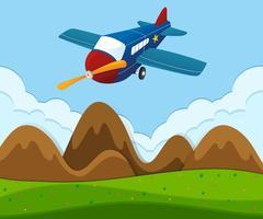 Flugzeug fliegt über die grüne Landschaft