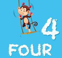 En apa jonglera fyra bollar