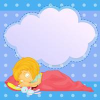 Ein junges Mädchen, das mit einem leeren Hinweis schläft