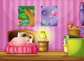 en tjej och ett sovrum