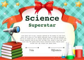 Certifikatmall för naturvetenskapligt ämne vektor