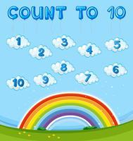 Mathe-Arbeitsblatt mit dem Zählen bis zehn mit Regenbogen im Himmel vektor