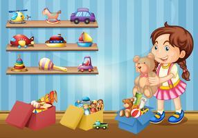 Liten flicka och många leksaker vektor