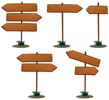 Holzschild Vorlage mit Pole vektor