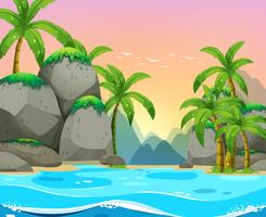 Blick auf den Strand bei Sonnenuntergang vektor