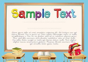 Certifikatmall med klassrumsbakgrund vektor