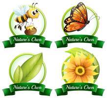Logo design med buggar och växter vektor