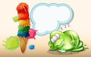 Ein müdes Monster, das in der Nähe der riesigen Eiscreme schläft