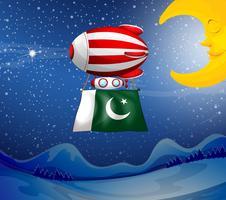 En flytande ballong med Pakistans flagga