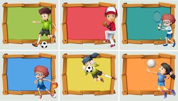 Banderolldesign med idrottare för många sporter