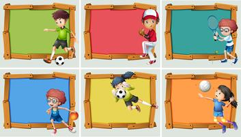 Banner Design mit Sportler für viele Sportarten vektor