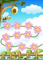 En bi och blommor vektor
