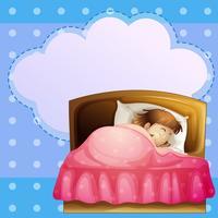 Ein Mädchen, das fest mit einem leeren Hinweis schläft