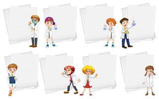 Line Papiervorlagen mit Menschen in weißen Kleidern vektor