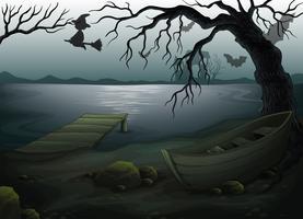 Ein Holzboot unter dem Baum vektor