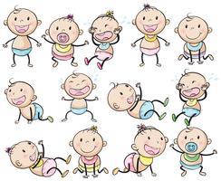 Baby pojkar och flickor i många inlägg