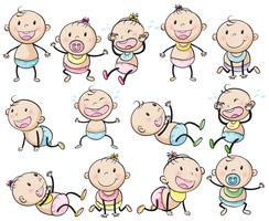 Babys und Mädchen in vielen Beiträgen vektor
