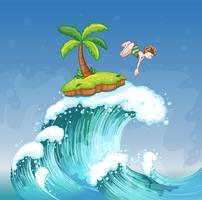 Ein Mädchen, das auf dem Meer mit einer kleinen Insel taucht