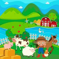 Landwirt und Nutztiere auf dem Bauernhof vektor