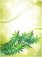 Ett grönt brevpapper med lövväxt