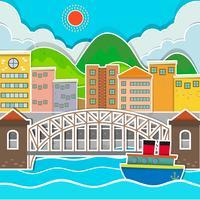Stadsplats med bro och flod