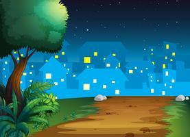 Ein Blick auf das Dorf mitten in der Nacht vektor