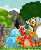 Drache am Wasserfall und der Höhle vektor