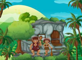 Höhlenmenschen, die im Steinhaus leben vektor