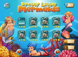 Hübsche kleine Meerjungfrau Spielvorlage vektor