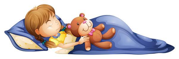 Ein junges Mädchen, das mit einem Spielzeug schläft
