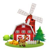 En leende häst utanför den röda ladugården med en väderkvarn