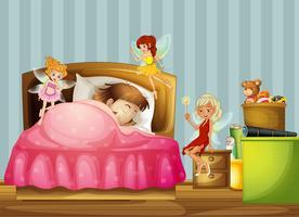 En ung tjej som sover med feer inuti hennes rum vektor