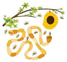 Spielschablone mit Bienen und Bienenstockhintergrund vektor