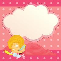 Ein Mädchen, das mit einem leeren Wolkenhinweis schläft