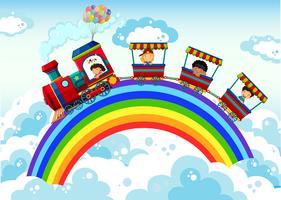 Zug und Regenbogen vektor