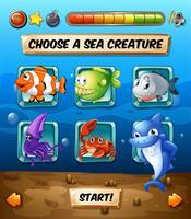Spielvorlage mit Fischen im Meer vektor