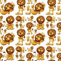 Nahtloser wilder Löwe mit verschiedenen Pfosten