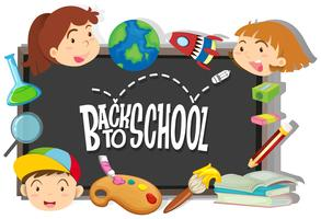 Zurück zum Schulthema mit Jungen und Mädchen vektor