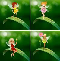 Fairies står på gröna blad vektor