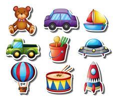 Klistermärke med många leksaker