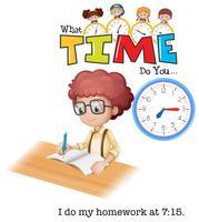 En pojke gör läxor på 7:15