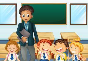 Lehrer und Schüler im Klassenzimmer vektor