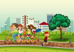 Människor i stadsparken vektor