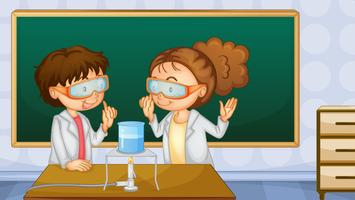 Studenter i lab