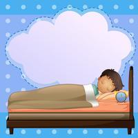 Ein Junge, der fest mit einem leeren Hinweis schläft