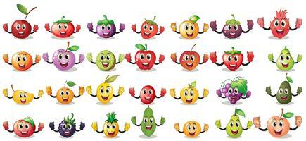 Sätze von Fruchtgesichtern vektor