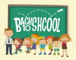 Zurück zum Schulmotiv mit Lehrer und Schülern