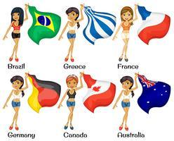 Mädchen und Flaggen vektor