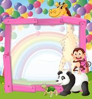 Gränsdesign med vilda djur och ballonger